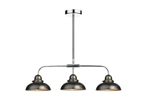 Dynamo 3-light Antique Chrome Bar Pendant Ceiling Light (Class 2 Double Insulated) BXDYN0361-17